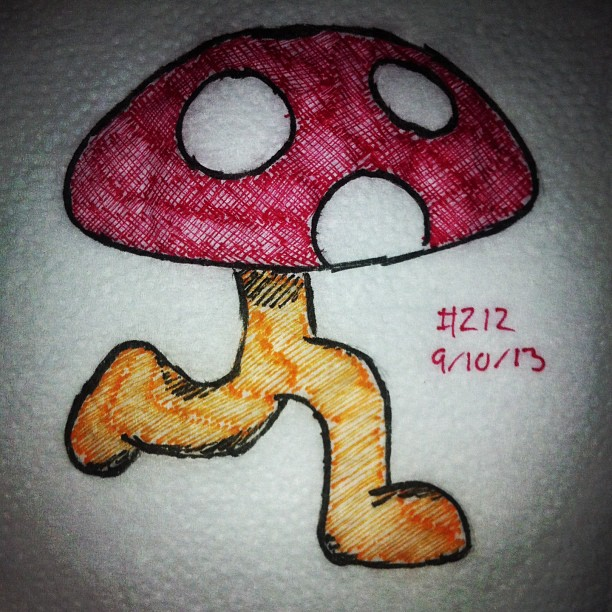 napkin_art_212___evil_mushroom___earthbound_by_peterparkerpa-d6pd8je
