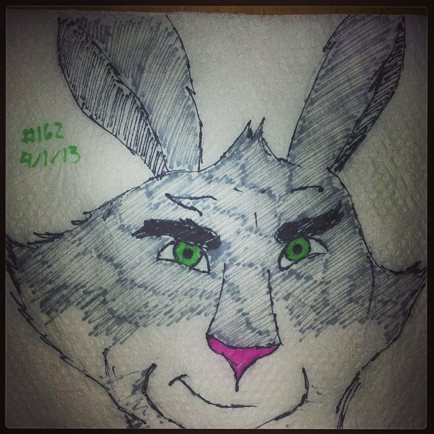 napkin_art_162___bunnymund___rise_of_the_guardians_by_peterparkerpa