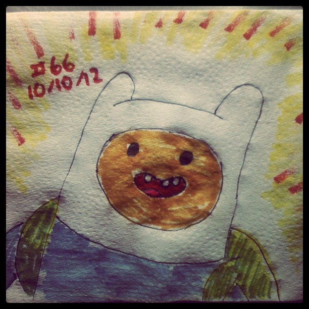 napkin_art__66___finn_the_human___adventure_time_by_peterparkerpa-d5pjuc1