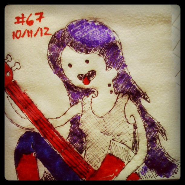 napkin_art__67___marceline___adventure_time_by_peterparkerpa-d5pobir