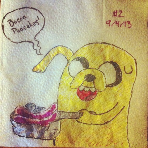napkinart___002___bacon_pancakes___adventure_time_by_peterparkerpa-d6l3y5v