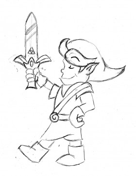 Link reimagined as the hero in a Maurice Sendak-inspired landscape