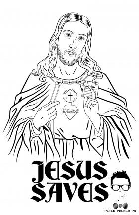 Jesus Saves peterparkerpa parody tshirt floppy disk web